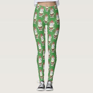 Damasker för grönt för julkomönster leggings