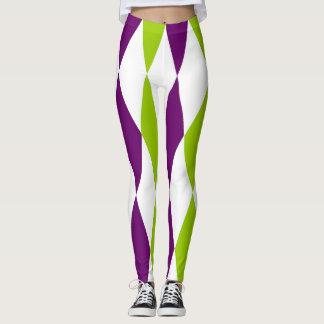 Damasker för lila- och gröntdiamantdesign leggings