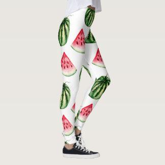 Damasker för vattenmelonvattenfärgmönster leggings