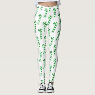 Damasker - randiga candy cane för grönt leggings