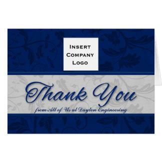 Damast för blått för tack för affärslogotyp hälsningskort