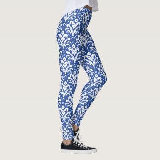 Damast för blått- och vit30-talblommigt leggings