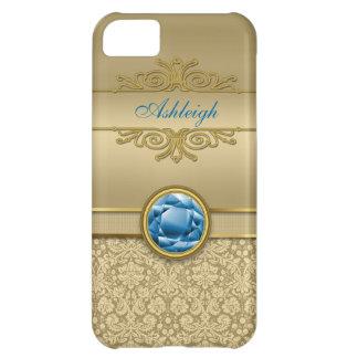 Damast för Gemstone för Fauxsafirblått metallisk iPhone 5C Fodral