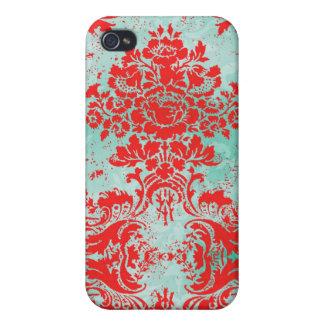 Damast för turkos för vintage för GCiPhone 4 röd iPhone 4 Cover