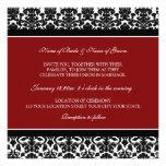Damast för vit för bröllopinbjudningar röd svart tillkännagivande