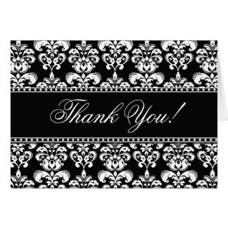 Damast för vit för eleganta tackkort svart hälsningskort