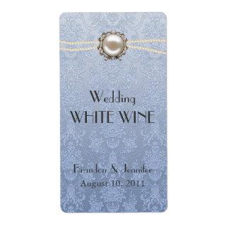 Damast och pärlor som gifta sig mini- vinetiketter fraktsedel