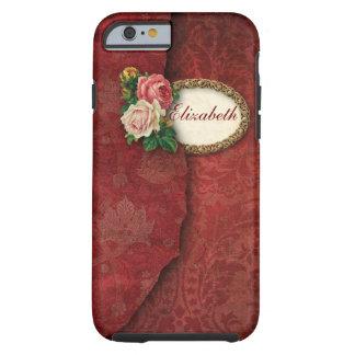 Damast och rosa ros för vintage sönderriven tough iPhone 6 skal