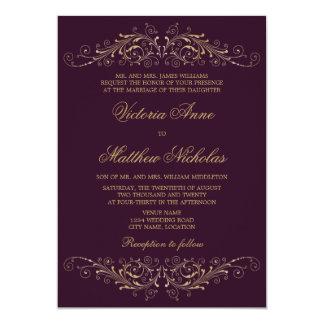 Damastast aubergineinbjudningar för elegant guld- 12,7 x 17,8 cm inbjudningskort