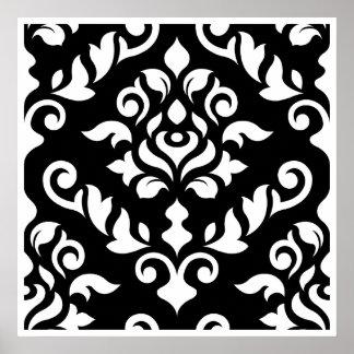 Damastast barock designvit på svart poster