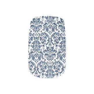 Damastast barock marinblå mönsterslyna) nail art