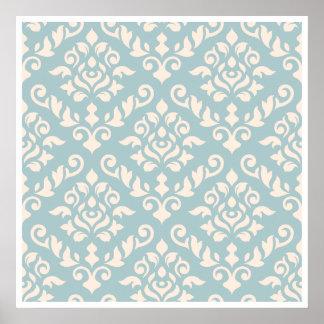 Damastast barock mönsterkräm på blått poster