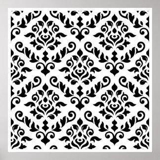 Damastast barock mönstersvart på vit poster