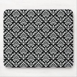 Damastast barock repetitionmönstervit på svart musmatta