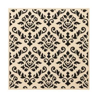 Damastast barockt stort mönster i svart trätavla