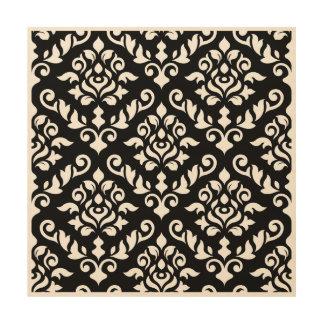 Damastast barockt stort mönster på svart trätavla