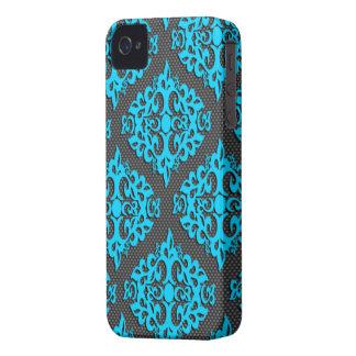 Damastast blackberry boldfodral för kalla blått iPhone 4 hud