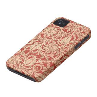 Damastast blom- röd blackberry bold 97009780 för Case-Mate iPhone 4 skydd