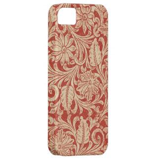 Damastast blom- röd Fodral-Kompis för vintage Barely There iPhone 5 Fodral