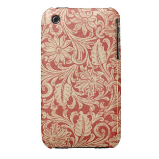 Damastast blom- röd Fodral-Kompis för vintage iPhone 3 Case-Mate Skydd