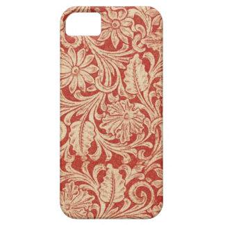 Damastast blom- röd Fodral-Kompis för vintage iPhone 5 Case-Mate Skal