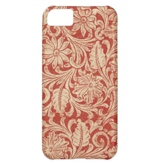 Damastast blom- röd Fodral-Kompis för vintage iPhone 5C Fodral