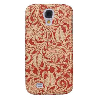 Damastast blom- röd HTC livlig tuff för vintage Galaxy S4 Fodral