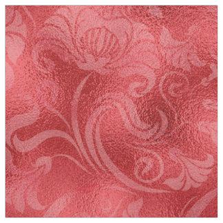 Damastast blom- Shimmerro röd ID461 Tyg