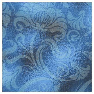 Damastast blom- Shimmersafirblått ID461 Tyg