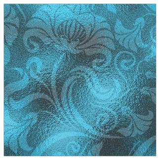 Damastast blom- Shimmerturkosblått ID461 Tyg