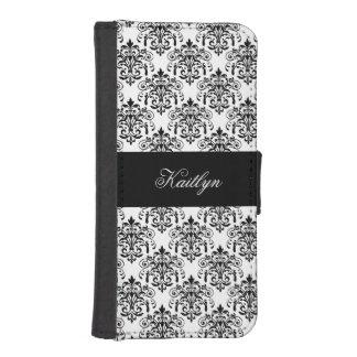 Damastast blom- tryck för elegant flott svart vit mobil plånbok