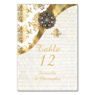 Damastast bröllop för vitparchment- och bordsnummer