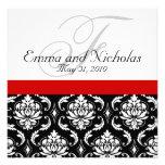 Damastast bröllopinbjudan för röd svart vit anpassade inbjudan