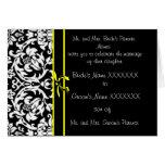 Damastast bröllopinbjudan - - gul pilbåge
