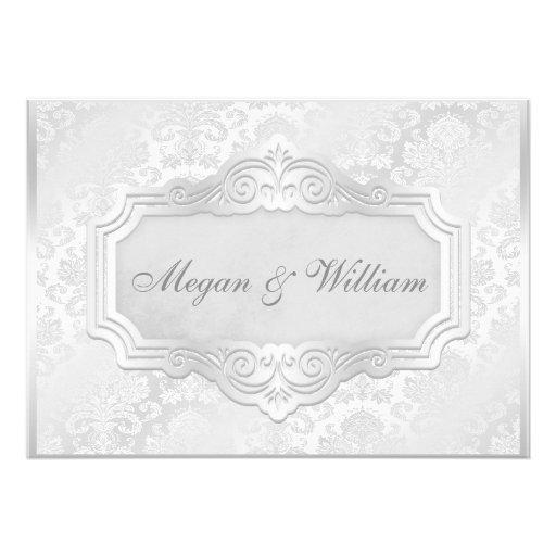 Damastast bröllopmottagande för elegantt silver inbjudningar
