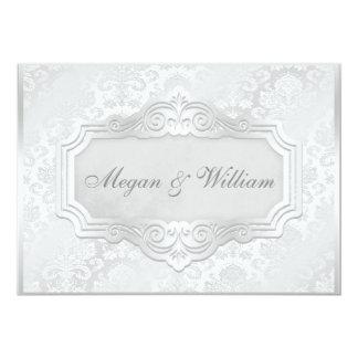 Damastast bröllopmottagande för elegantt silver 12,7 x 17,8 cm inbjudningskort