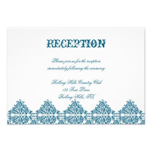 Damastast bröllopmottagande för marockanska blått unika inbjudningar