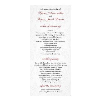 Damastast bröllopsprogram anpassade rackkort
