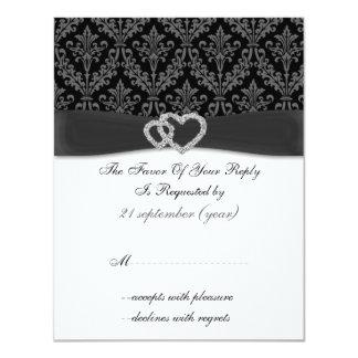 damastast diamantekolbröllop OSA Inbjudningskort