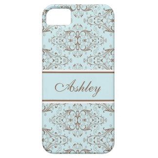 Damastast etikett för bruna blått iPhone 5 cover