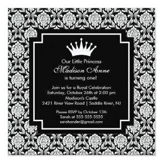 Damastast födelsedagsfest inbjudan för Princess