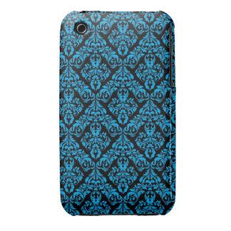 Damastast fodral för blått och för designblackberr iPhone 3 case
