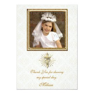 Damastast fotokort för religiöst elfenben 12,7 x 17,8 cm inbjudningskort