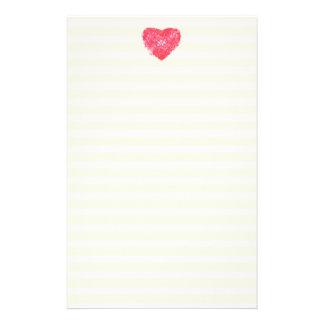 Damastast hjärta fodrat brevpapper-/handstilpapper brevpapper