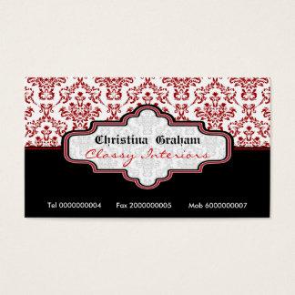Damastast insidavisitkort för svart röd vit visitkort
