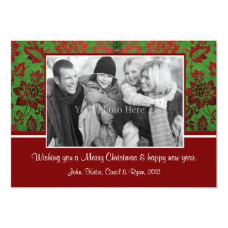 Damastast julkort för grön vintage med fotoet 12,7 x 17,8 cm inbjudningskort