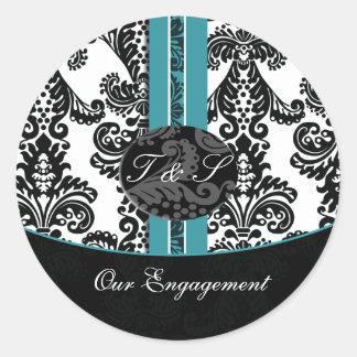 damastast klistermärkear för aquabröllopMonogram Rund Klistermärke