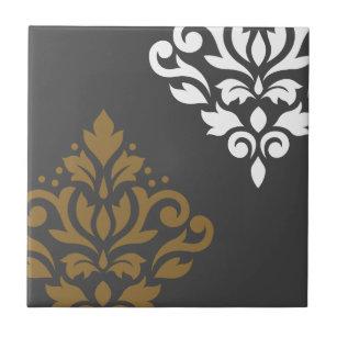 f8bed48e9c1e Damastast konst för rulla mig guld & vit på grå kakelplatta