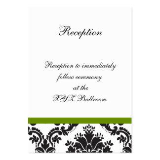 damastast kort för mottagande för set av breda visitkort