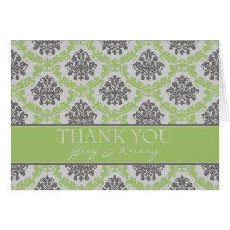 Damastast kort för tackkort för Pearlimefruktgrönt